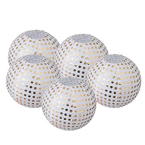 Uonlytech 5pcs lanternes en papier rond motif doré motif suspendu décoratif décorations boule lanternes décoration de fête 10 pouces (blanc)