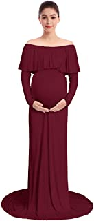 Pregnant Women Off Shoulder Long Sleeve Maternity Dress Baby Shower Maxi Gown Photography Dress for Photo Shoot