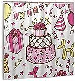 Duschvorhang Geburtstagstorte Luftballons Geschenkbox Hut Ballon H& Sterne Wasserdichtes Gewebe Badevorhang für Badezimmer72 x 72 Zoll
