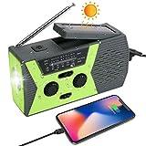 Radio AM/FM Portable à Manivelle, Solaire & USB Rechargeable Lampe de Poche LED,...