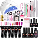 TopDirect 48W UV/LED Lámpara Uñas Gel Kit, 6Pcs extensión de uñas gel 15ml + 4 Pcs Esmalte de uñas de gel Soak off 8ml con Top y Base Coat Herramientos de Uñas Arte