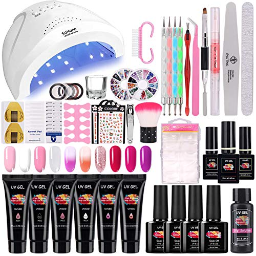 TopDirect 48W UV/LED Lámpara Uñas Gel Kit, 6Pcs extensión de uñas gel 15ml + 4 Pcs...