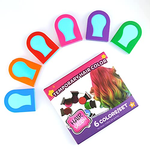 TALLSOCNE Hair Chalk for Kids, 6 Colors Temporary Hair Chalk for Girls with Dark Hair Blonde Hair Washable Non-Sticky, Vibrant Temporary Hair Color, Gift for Kids Aged 4 5 6 7 8 9 10+