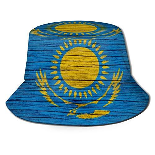 Be-ryl Kasachstan Holz Textur Kasachische Flagge Unisex Druck Eimer Hut Fischerhüte Sommer Wende Packbare Kappe