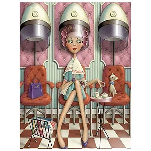5D Diy Pintura Diamante Diy 5D Diamante Pintura Completamente Cuadrado Punto De Cruz Taladro Completo Bordado Peluquería Dama Diamantes De Imitación Pintura Iconos Taladro Redondo 45X60Cm 30-45