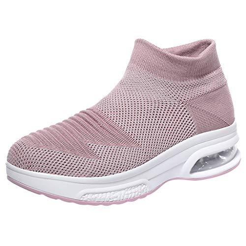 Damen Laufschuhe Socks Slip Ons Strick Sportschuhe Leicht Sneakers Atmungsaktive Turnschuhe Schnürer Sommer Luftkissen Outdoorschuhe Fitnessschuhe (EU:36, Rosa)