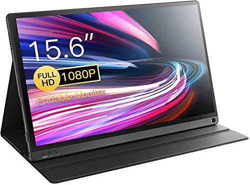 Monitor portátil de 15,6 pulgadas, 1920 x 1080, Full HD, USB-C, con pantalla IPS, USB-C/Mini-HDMI para PC, móvil, PS4, etc., Xbox, con funda protectora