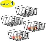 NEX Under Shelf Basket, Set of 4 Under Cabinet Basket Storage Shelf Hanging Basket Organizer for Pantry, 15.15 x 11.02 x 5.9 inches, Black