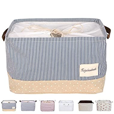 DOKEHOM DKA0611BBM2 17  Large Storage Basket (4 Colors, 15  17  and 22  Available), Drawstring Square Cotton Linen Collapsible Toy Basket (Navy Blue, L)