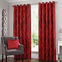 Story @ Home2 Piece Nature Eyelet Polyester Abstract Pattern Door Curtain - 7ft, Red