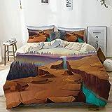 Juego de funda nórdica beige, paisaje de cañón de dibujos animados con siluetas de árboles forestales distantes Parque nacional, juego de cama decorativo de 3 piezas con 2 fundas de almohada fácil cui