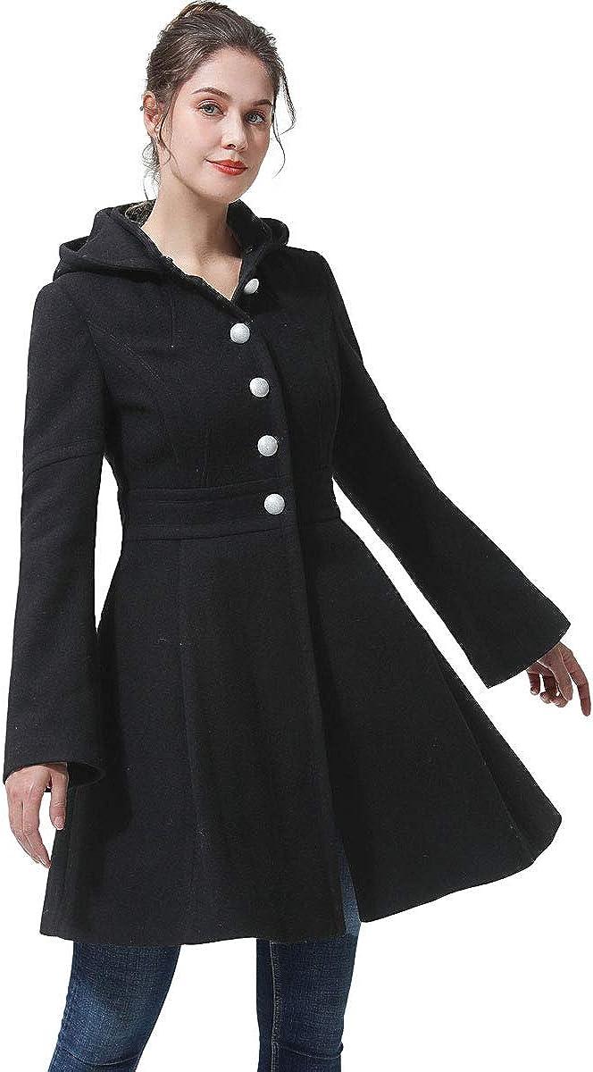 BGSD Women's Zoe Fit & Flare Hooded Wool Coat (Regular & Plus Size & Petite)