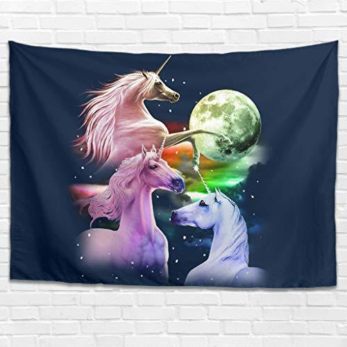 Tapiz de pared con diseño de unicornio, luna, bohemio, para dormitorio, salón, como toalla de playa, manta de picnic, color blanco, 100 x 150 cm