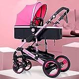 YZPTD Cochecito de Cochecito, cochecitos Convertibles compactos, Cesta de Almacenamiento, área de Asiento Grande para Viajar, Comprar, Caminar (Color : Pink)