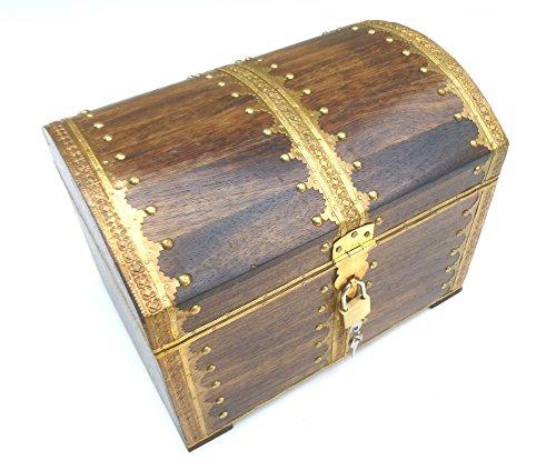 ESPOSITORE 73GS con castello in legno baule del tesoro tesoro baule Box in legno scatola regalo decorazione compleanno matrimonio scatola portaoggetti verschliessbar chiudibile con coperchio
