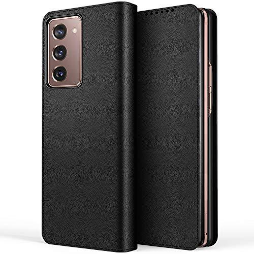 Miimall Samsung Galaxy Z Fold 2 5G Hülle, [Abnehmbare Hintere Abdeckung] Premium Leder Klapphülle mit Kartensteckplätze Magnetschnalle Schutzhülle für Samsung Galaxy Z Fold 2 5G 2020 - Schwarz