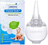 Innovo Hospital Grade Silicone Twister Bulb Baby Ear Syringe and Nasal Aspirator, Snot Sucker and Mucus Sucker, Non-Toxic Nasal Ear Bulb, Cleanable and Reusable, Clear White