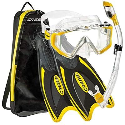 Cressi Palau Traveling Premium Snorkel Set, Panoramic Wide View Adult Diving Snorkeling Mask, Desert Dry Snorkel, Adjustable Fins, Travel Gear Bag - Metallic Yellow - Medium/Large