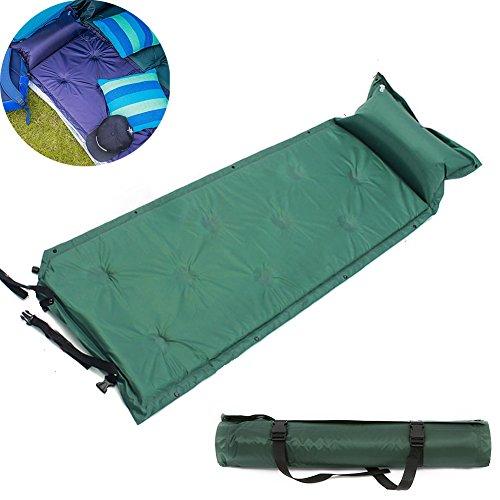 Selbstaufblasbare Luftmatratze,tragbare Matratze Leichtgewicht Isomatte mit Kissen koppelbar für Outdoor Camping, Wandern, Reise, Trekking (Dunkelgrün)