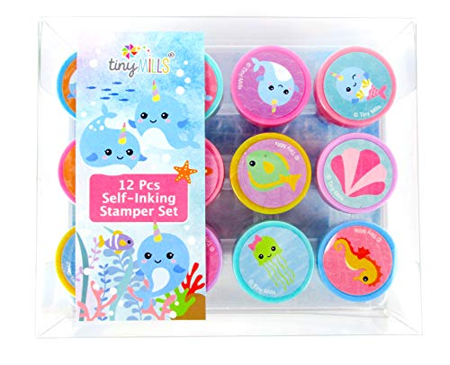 TINYMILLS 12 Pcs Narwhals Under The Sea Stamp Kit for Kids Self Inking Stamps Gift Easter Basket Filler