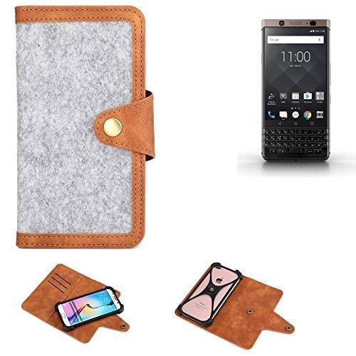 K-S-Trade® Handy-Hülle Für BlackBerry KEYone Bronze Edition Schutz-Hülle Filz-Hülle Kunst-Leder Hellgrau Braun (1x)