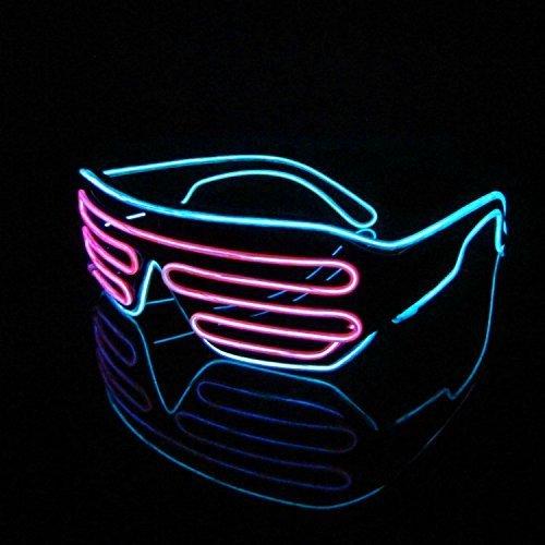 LERWAY Gafas Multicolor para Fiestas EL Neón Marco Negro LED Iluminación Control de Voz Halloween Navidad Decoración Año Nuevo Cosplay Disfraz (Rosado + Celeste)