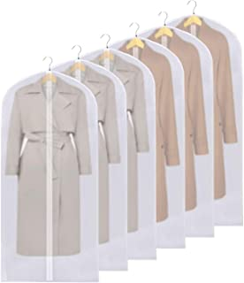 Clothes Dust Cover 60 inches Hanging Garment Bags for Storage and Travel Dust Proof Suit Bags Breathable Suit Cover for Suits Dresses Coats 24''x60''/6 Pack