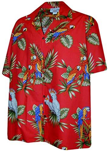 Pacific Legend Parrots Hawaiian Shirt Red 3531-XL