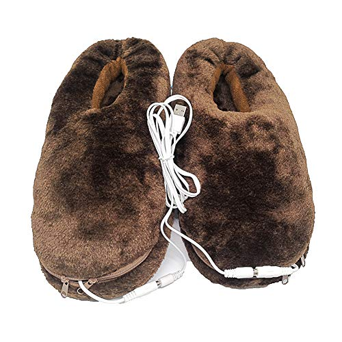 Heated Slippers USB Electric Heated Slippers Cold Winter Warm Plush Slippers(Coffee)