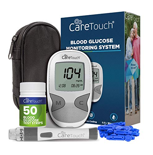Care Touch Diabetes Testing Kit - Blood Glucose Monitor, 50 Blood Glucose Test Strips, 100 30-Gauge Lancets, Lancing Device, Battery, and Carrying Case | for Blood Sugar Testing and Monitoring