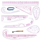 10 Piezas Set de Regla de Costura Clara Regla Métrica Curva de Sastre Herramientas de Costura para Principiantes Sastres Diseñadores DIY Patrón de Diseño de Ropa de Costura