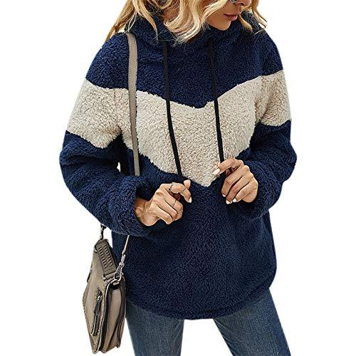 zhanxin Winter Clothes Women Sweatshirt Hoodies Top Patchwork Drawstring Long-Sleeve Top Loose Hooded Sweatshirt Female Blue