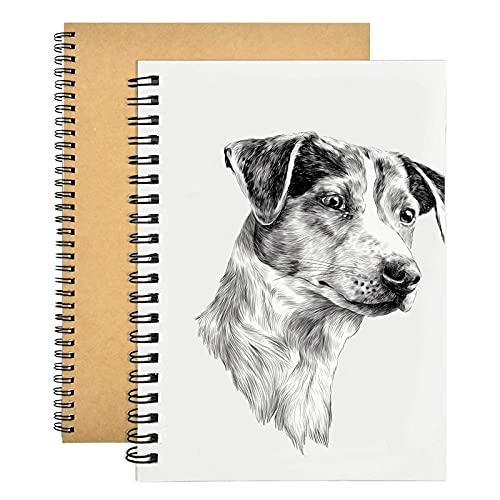 2 piezas Cuaderno A4, 150GSM/ 140 Páginas Libretas Tapa Dura, Cuaderno de Dibujo en Blanco Espiral de la Cubierta de Kraft del Libro de Dibujo para Los Artistas de Los Niños de Los Adultos