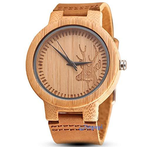 Reloj de pulsera para hombre de madera de bambú con correa de piel de vaca grabada de ciervo movimiento de cuarzo, reloj de madera para hombres y mujeres, creativo regalo de cumpleaños o escuela