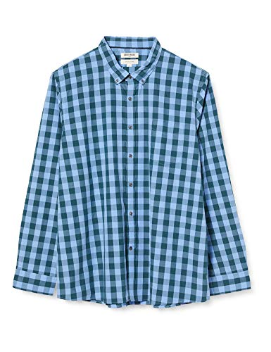 Amazon Brand - Goodthreads Men's Slim-Fit Long-Sleeve Gingham Plaid Poplin Shirt, Blue/Green, Large