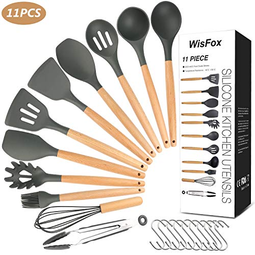 WisFox Utensili Cucina Set, Set di Utensili da Cucina in Silicone,Resistente al Calore con Manico Legno Antiaderenti da Cucina 11 Pezzi +10 S Ganci - Grigio