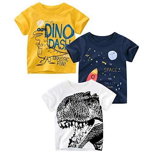 PADGENE T-Shirt pour Bébé, Garçon Hauts en Coton T-Shirts Chemise à Manches Courtes sous-Chemise pour Bébé Enfants, Dinosaures-B