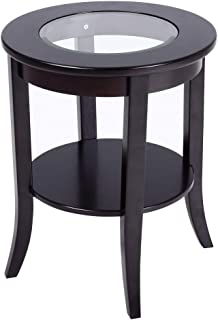 Phoenix Home Coventry Round Wood End Table with Glass Inlay, Earthy Espresso