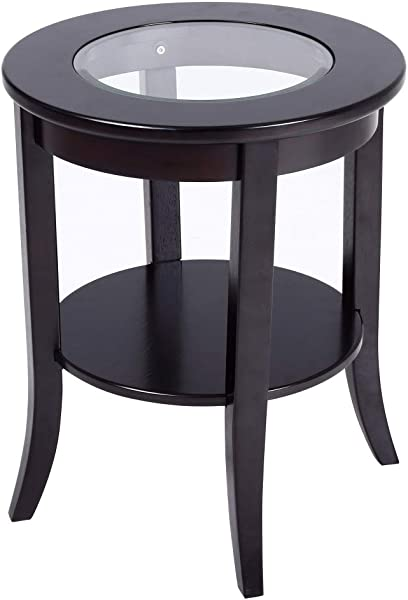 Phoenix Home Coventry Round Wood End Table With Glass Inlay Earthy Espresso