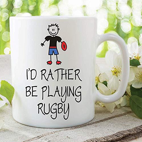 N\A Novedad Tazas Divertidas Prefiero Jugar al Rugby Regalo de cerámica