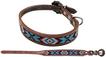 Showman Couture Turquoise Black RED Navajo Beaded Leather Adjustable Dog Collar (Large (18 1/4