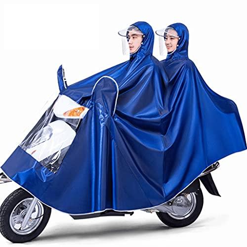 HOTRA Chubasquero de Ciclismo, Funda para Coche, Poncho Impermeable, Apto para Motos, Bicicletas, Chubasquero Largo Doble, Apto para Actividades al Aire Libre (Color : Navy Blue, Size : 4XL)