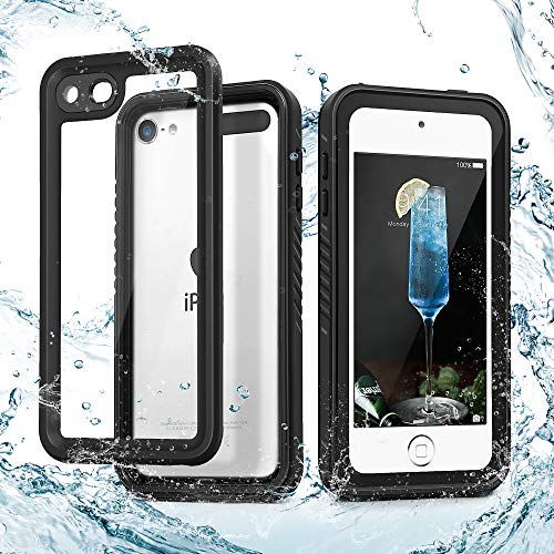 iPod Touch 7 IP68 Waterproof Case, 2019 Released iPod 7th Case,IDweel Touch 6 & 5 Full-Body Protective Built-in Screen Protector Dustproof Shockproof Anti-Scratch Cover for Touch 5/6/7th Gen, Black
