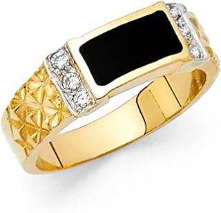 98a40de4dbbc26 Solid 14k Yellow Gold Ring Mens Onyx Band Black Diamond Cut CZ Square Design  Polished Fancy