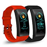 Birgus Smart Fitness Tracker Watch Bluetooth Activity Tracker Heart Rate Monitor, Sleep Monitor,Blood Pressure Monitor, Waterproof Smart Pedometer Barcelet for Android iOS iPhone Men Wowen Kids-Red