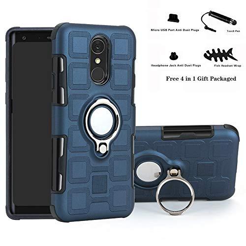 Labanema LG Q7 Hülle, Ring Kickstand 360 Grad rotierenden Fingerring Grip Drop Schutz Stoßdämpfung Weichen TPU Cover für LG Q7 / Q7 Plus / Q7 Alpha - Navy Blau