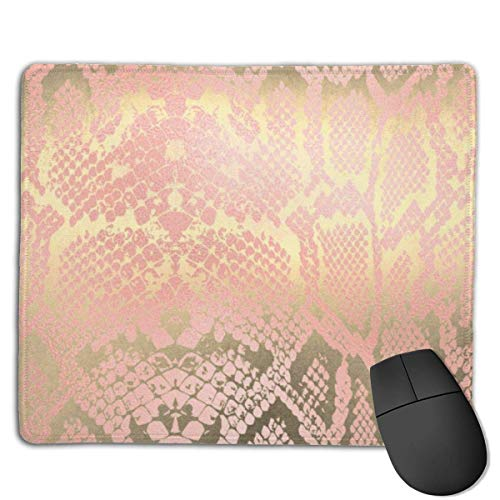 Contemporary Gold Pink White Python Snake Skin Gaming Mouse Pad Non-Slip Rubber Base Durable Stitched Edges Mousepads Compatible with Laser and Optical Mice for Gaming Office Working 25x30cm