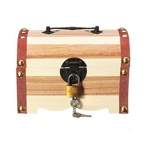Heqianqian Treasure Cofre Cajas de almacenamiento de 3 tipos vintage de madera con cerradura de regalo (tamaño: M; Color: Natural)