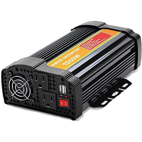LUOQI Inversor De Corriente Onda Sinusoidal Pura 1500W Transformador de 12V A 24V 220V, Inversor con Puertos de USB y Enchufe Universal Toma de AC, Peak 3000W