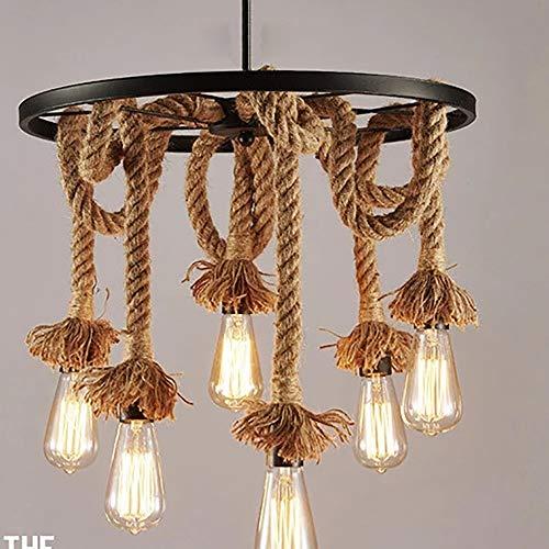 Kroonluchter Kroonluchter Café Slaapkamer Studie Room Wiel Hennep Touw Lampenkap LED Lamp Iron Craft E27 Lamp Houder Hanglamp